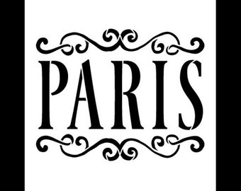 Paris Word Art Stencil - Vintage Scrolls - Select Size - STCL908 - by StudioR12