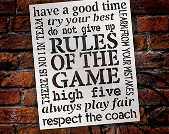 Rules of The Game Stencil by StudioR12 | Reusable Mylar Template | Use to Paint Wood Signs - Pallets - Posters - DIY Game Time Decor -...