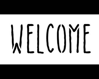 Welcome - Skinny Handwritten - Horizontal - Word Stencil - Select Size- STCL1197 by StudioR12