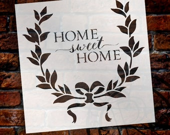 Home Sweet Home Wreath - Word Stencil - SELECT SIZE - STCL1129 - by StudioR12