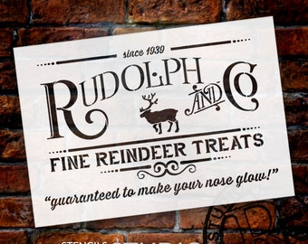 Rudolph and Co. Stencil by StudioR12 |  Fine Reindeer Treats Christmas Word Art- Reusable Template | Use for DIY Signs SELECT SIZE- STCL1538
