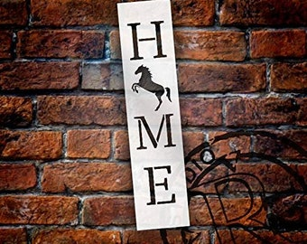 Home with Rearing Horse - Vertical Stencil by StudioR12 | Reusable Mylar Template | Use to Paint Wood Signs - Pallets - Banners - DIY...