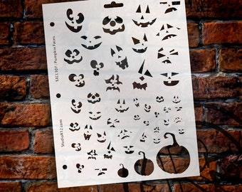 "Pumpkin Patch Faces Stencil- 8 1/2"" X 11"" - STCL107 - by StudioR12"