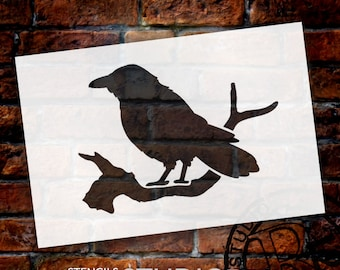 Edgar's Raven Art Stencil - Select Size -  STCL748 - by StudioR12