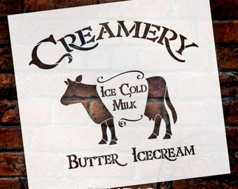 Creamery - Cow - Word Art Stencil - Select Size - STCL2065 - by StudioR12