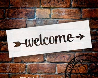Welcome - Simple Script - Arrow - Word Art Stencil - Select Size - STCL2179 - by StudioR12