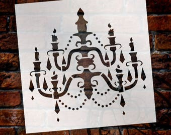 Chandelier - Art Stencil - Baroque - Select Size - SKU: STCL684