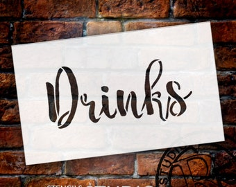 Wedding Sign Stencil - Drinks - Rustic Script - Select Size- STCL1613 - by StudioR12