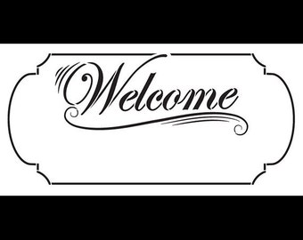 """Welcome Stencil with Border - Word Stencil - 20"""" x 10"""" - SKU:STCL575"""