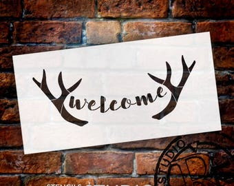 Welcome - Antlers - Casual Script - Word Art Stencil - Select Size - STCL2077 - by StudioR12