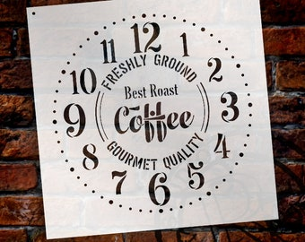 Provincial Round Coffee Clock Stencil - DIY Painting Rustic Wood Clocks Small to Extra Large for Farmhouse Country Home Decor  - SELECT SIZE