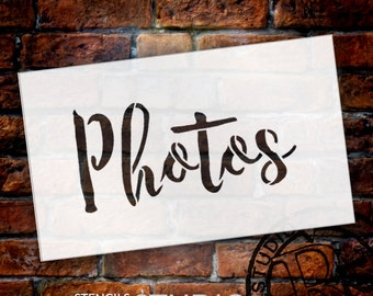 Wedding Sign Stencil - Photos - Rustic Script - Select Size- STCL1612 - by StudioR12