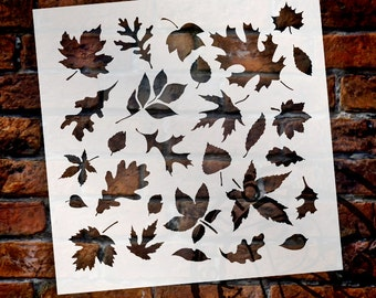 Fall Leaves-Pattern Stencil-Select Size- SKU: STCL707