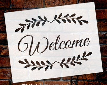 Welcome - Leaves - Word Art Stencil - Select Size - STCL1482 - by StudioR12