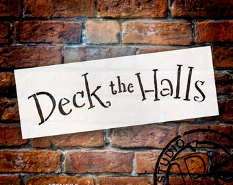 """Deck The Halls-Whimsical-Word Stencil-8.5"""" X 3""""-SKU:STCL614"""