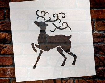 Christmas Shapes Stencil - Prancing Reindeer - Select Size - STCL1560 - by StudioR12