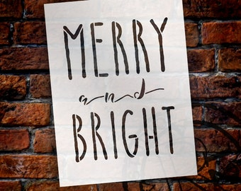 Merry And Bright Word Stencil by StudioR12 | Reusable Template | Painting| Farmhouse Style, Vintage Country Christmas, Holiday,  SELECT SIZE