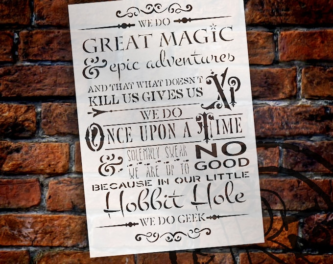 """Featured listing image: We Do Fantasy Geek - Word Stencil - 11"""" x 16"""" - STCL1314 - by StudioR12"""