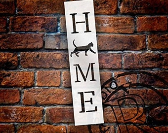 Home with Cat - Vertical Stencil by StudioR12 | Reusable Mylar Template | Use to Paint Wood Signs - Pallets - Banners - DIY Animal Lover...