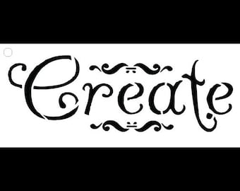 Create-Word Stencil- Whimsical Embellished-Slect Size-SKU:STCL666