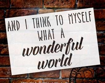 "What A Wonderful World - Word Stencil - 31"" x 20"" - STCL1430 - by StudioR12"