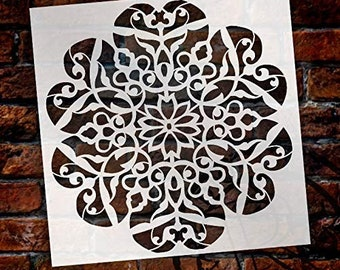 Mandala - Flower Swirls - Complete Stencil by StudioR12 | Reusable Mylar Template | Use to Paint Wood Signs - Pallets - Pillows - Wall...