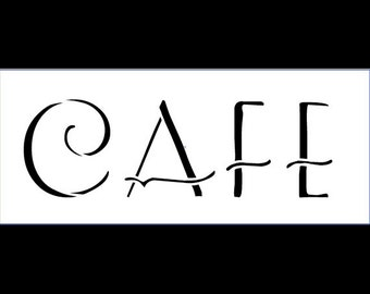 Cafe Word Art Stencil - Art Deco - Select Size - SKU:STCL819