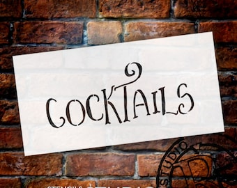Wedding Sign Stencil - Cocktails - Fancy Funky - Select Size- STCL1640 - by StudioR12