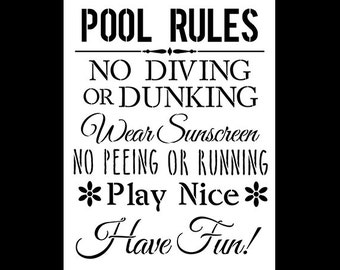 Pool Rules - Word Stencil - Select Size  - STCL1214 by StudioR12
