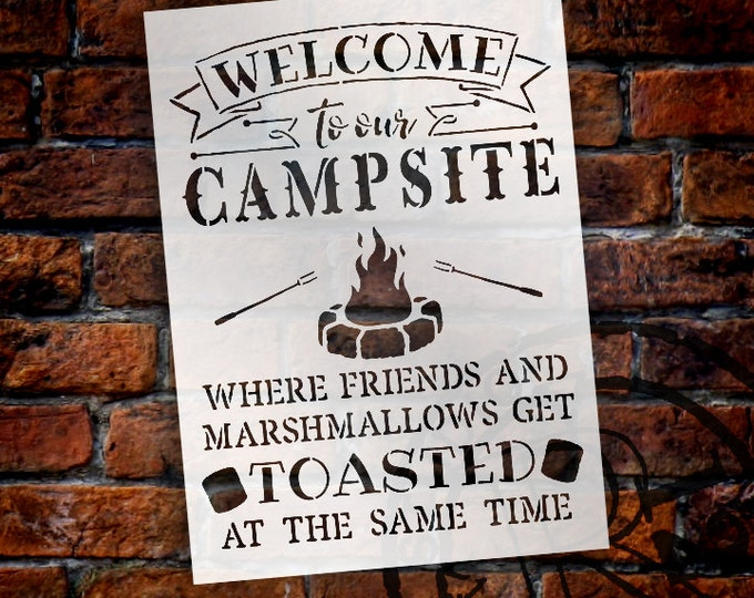 Featured listing image: Welcome To Our Campsite- Sign Stencil - Select Size - STCL1507 - by StudioR12