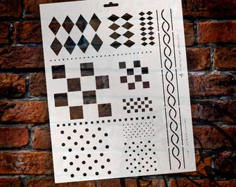 "Jumbo 12-in-One Diamonds, Checks, and Dots Stencil - 11"" x 17"" - SKU:STCL152"