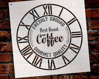 Round Coffee Clock Stencil - Industrial Roman Numerals - DIY Painting Rustic Wood Clocks Small to Extra Large for Home Decor  - SELECT SIZE