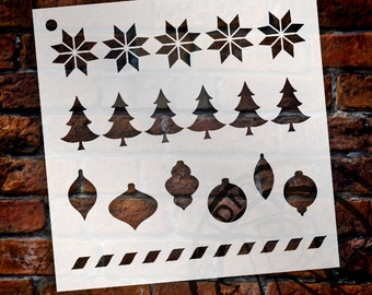 "Christmas Sampler Pattern Stencil - by StudioR12 - Reusable, Christmas, Holiday, Painting, Trees, Bulbs, Snowflake, Chalk - 6"" X 6""- STCL999"