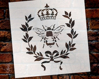 French Bee Stencil by StudioR12 - Reusable - Includes Crown and Laurel Wreath - Furniture Paint - French Farmhouse, Mixed Media SELECT SIZE