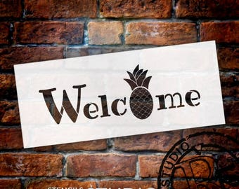 Welcome - Pineapple - Word Stencil - Select Size - STCL2071 - by StudioR12