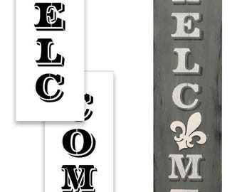 """Welcome - Old Post Vertical - Word Art Stencil - 48"""" x 12"""" - STCL1944_5"""