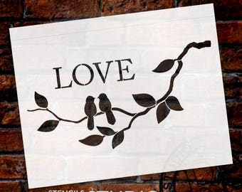Love Birds - Art Stencil - Select Size - STCL1231 - by StudioR12