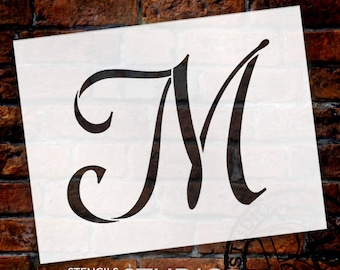 M  -Graceful Monogram Stencil  - Select Size - STCL1913 - by StudioR12