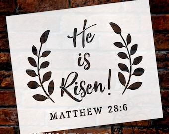 He Is Risen - Wreath - Word Art Stencil - Select Size - STCL1875 - by StudioR12