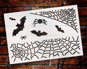 """Spiders & Bats Art Stencil - 13"""" X 9"""" - STCL568 - by StudioR12"""