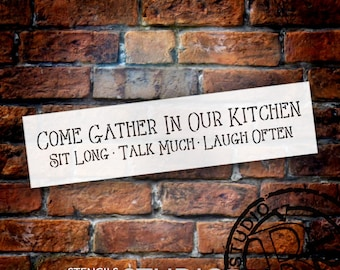 Come Gather - Kitchen - Skinny - Word Stencil - Select Size - STCL1822 - by StudioR12