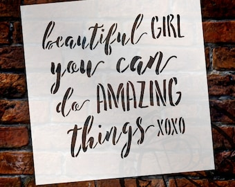 Beautiful Girl - Word Stencil - Select Size - STCL1818 - by StudioR12