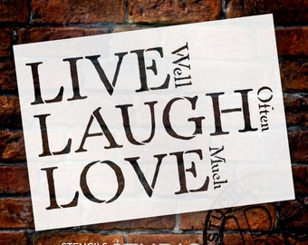 Live, Laugh, Love - Traditional Stacked - Word Stencil - STCL1371 - Select Size by StudioR12