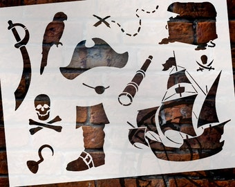 "A Pirate's Life For Me Art Elements Stencil - 8-1/2"" x 11"" - STCL1165_1 - by StudioR12"
