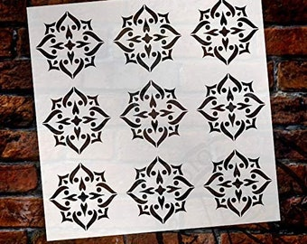 Mandala - Spades - 9 Tile Pattern Stencil by StudioR12 | Reusable Mylar Template | Use to Paint Wood Signs - Pallets - Pillows - Wall Art...