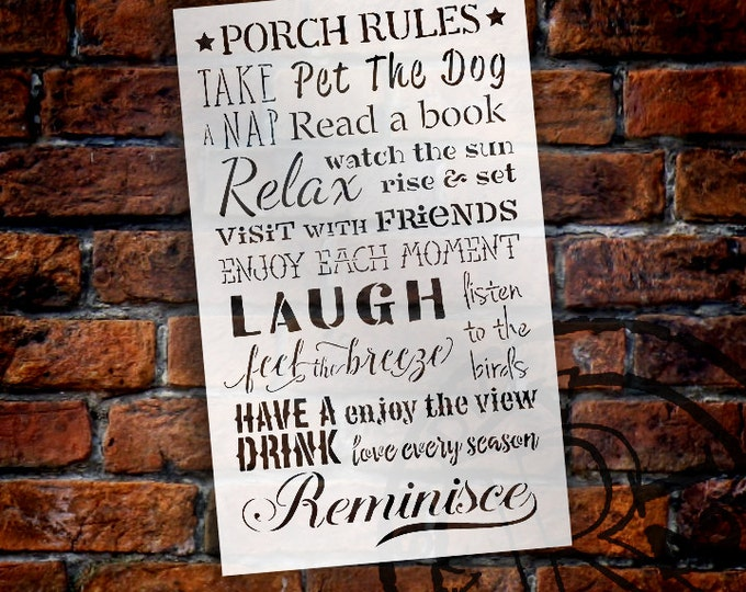 Featured listing image: Porch Rules Version 2 - Word Art Stencil - Select Size - STCL1422 by StudioR12