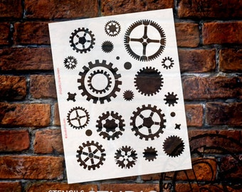"Simple Gears Stencil - 8 1/2"" x 11""- STCL368 - by StudioR12"
