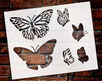 "Monarch Butterfly Stencil - 8 1/2"" X 7"" -SKU:STCL520"