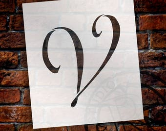 V  -Graceful Monogram Stencil  - Select Size - STCL1922 - by StudioR12