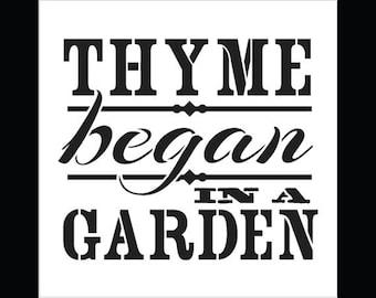 """Thyme Began In A Garden - Word Stencil - Vintage - 7"""" x 7"""" - by StudioR12"""